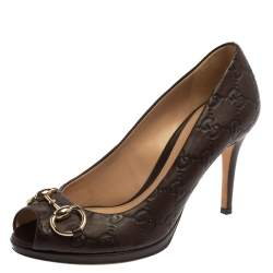 Gucci Brown Guccissima Leather New Hollywood Horsebit Peep Toe Pumps Size 36.5