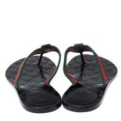 Gucci Black Leather And Web Interlocking G Thong Flats Size 39