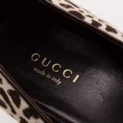 Gucci Leopard Print Calf-Hair Platform Pumps Size 36.5