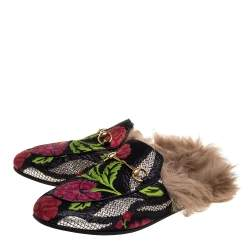 Gucci Multicolor Jacquard Fabric And Fur Lined Horsebit Princetown Mules Size 39