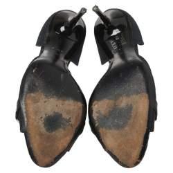 Gucci Black Printed Canvas D'Orsay Horsebit Peep Toe Pumps Size 37