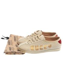 Gucci Off White Leather  Falacer Logo Sneakers Size 38.5