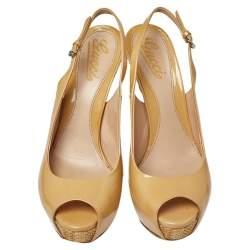 Gucci Beige Patent Peep Toe Platform Ankle Strap Cut Out Sandals Size 38