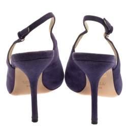 Gucci Purple Suede Peep Toe Slingback Sandals Size 38