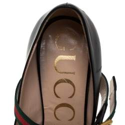 Gucci Black Leather Sylvie Mary Jane Pumps Size 36.5