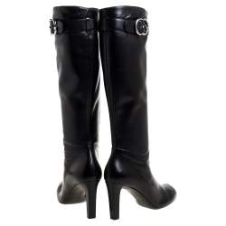 Gucci Black Leather Sachalin Double G Knee High Boots 40