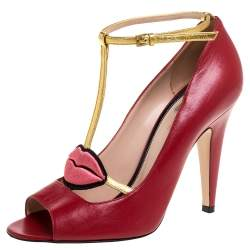 Gucci Red Leather Molina T Strap Sandals Size 38.5