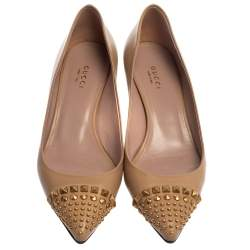 Gucci Beige Leather Studded Cap Toe Pumps Size 37.5