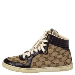 Gucci Beige GG Canvas And Leather High Top Sneakers Size 36.5