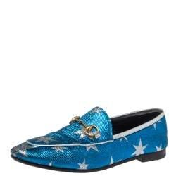 Gucci Blue Glitter Fabric Jordaan Star Lurex Horsebit Loafers Size 37