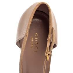 Gucci Beige Leather Coline Studded T Strap Pumps Size 41