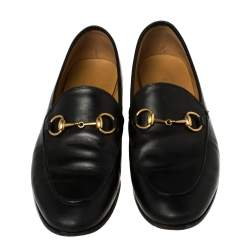 Gucci Black Leather Horsebit Loafers Size 35.5