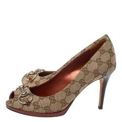 Gucci Beige GG Canvas And Leather New Hollywood Horsebit Peep Toe Pumps Size 37