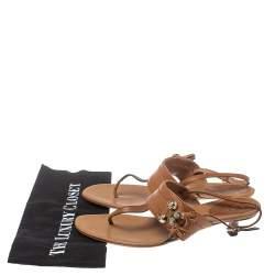 Gucci Brown Leather Marrakech Kitten Heel Sandals Size 38.5