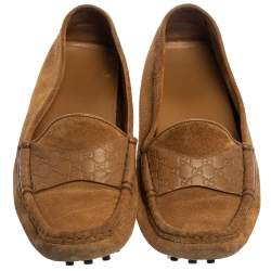 Gucci Beige Suede And Guccissima Leather Slip On Loafers Size 37