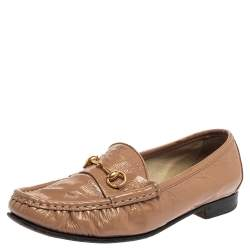 Gucci Beige Patent Leather 1953 Horsebit Slip On Loafers Size 36