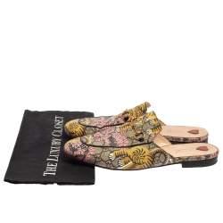 Gucci Multicolor Canvas Princeton Horsebit Mules Sandals  Size 41