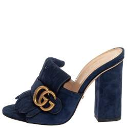 Gucci Blue Suede GG Marmont Fringe Mules Size 35