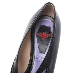 Gucci Black Leather Cutout Detail GG Bow Embellished Berith Pumps Size 36.5