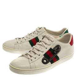 Gucci White Leather Embossed Python Trim Web Detail Embellishment Ace Low Top Sneakers Size 40