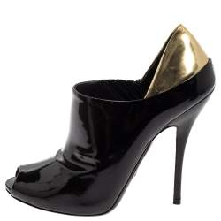 Gucci Black/Metallic Gold Patent Leather Peep Toe Booties Size 39.5