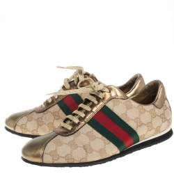 Gucci Gold/Beige GG Canvas And Leather Web Low Top Sneakers Size 37.5