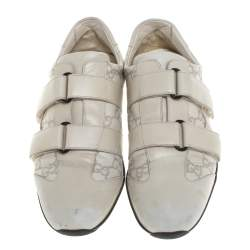 Gucci Off White Guccissima Leather Velcro Sneakers Size 38