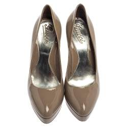 Gucci Grey Patent Leather Platform  Slip On Pumps Size 37.5