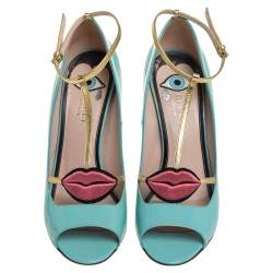 Gucci Blue Patent Leather Molina Sandals Size 40