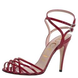 Gucci Red Patent Leather Strappy Ankle Strap Sandals Size 38.5