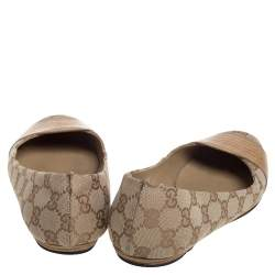 Gucci Brown/Beige GG Canvas And Lizard Embossed Leather Ballet Flats Size 38.5