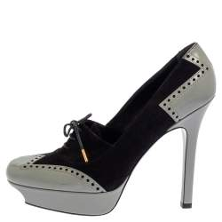 Gucci Black/Grey Suede And Leather Oxford Lace Platform Pumps Size 39