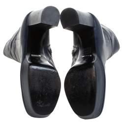 Gucci Blue Leather Platform Block Heel Ankle Boots Size 40