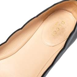 Gucci Black Leather Pearl Detail Ballet Flats Size 38
