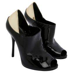 Gucci Black Gold Patent Leather Peep Toe Booties Size EU 37.5