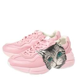 Gucci Pink Leather Rhyton Mystic Cat Sneakers Size 37