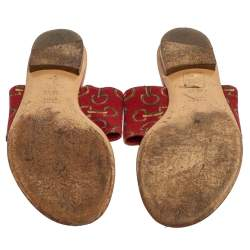 Gucci Red Canvas And Leather Thong Flats Sandals Size 36.5