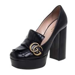 Gucci Black Leather Fringe Marmont GG Pumps Size 35.5