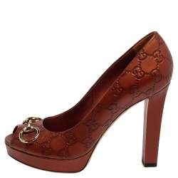 Gucci Brown Leather Guccissima Horsebit Peep-Toe Platform Pumps Size 39