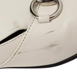 Gucci White Leather Horsebit Lillian Loafers Size 39