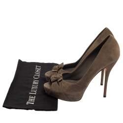 Gucci Dark Grey Suede Bow Peep Toe Pumps Size 39