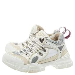Gucci White Mesh And Leather Logo Embossed Flashtrek Sneakers Size 38