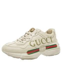Gucci Cream Leather Trainer Sneakers Size 35.5