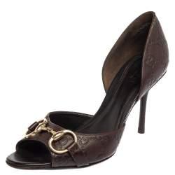 Gucci Brown Guccissima Leather Horsebit Peep Toe Pumps Size 38