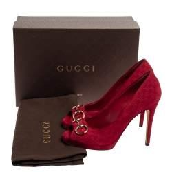 Gucci Red Suede Peep Toe Horsebit Pumps Size 37