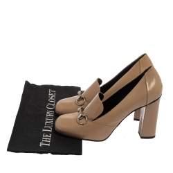 Gucci Beige Leather Horsebit  Pumps Size 38.5