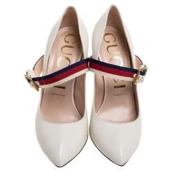 Gucci White Leather Sylvie Pumps Size 39