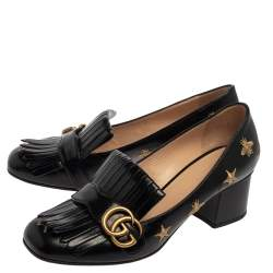 Gucci Black Leather GG Star Marmont Fringe Pumps Size 39