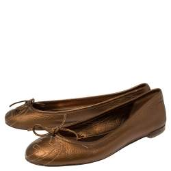 Gucci Metallic Brown Leather Bow Ballet Flats Size 37.5