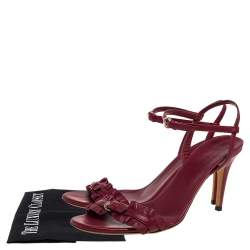 Gucci Burnt Red Leather Ruffle Trimmed Sandals Size 38